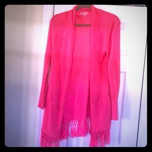 Lilly Pulitzer Pink Cardigan Sweater with Fringe